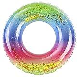 Anello da Nuoto Arcobaleno, NALCY Gonfiabile Gigante Salvagente, Anello di Nuoto del Piscina Galleggiante, Anello da Nuoto Rotondo con Glitter in PVC, per Spiaggia o Piscina (85cm)