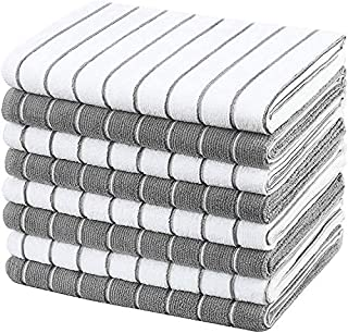 The White Shop Microfiber Kitchen Towels, Super Absorbent,Large and Thick Soft Dish Towels, Stripe Designed, 8 Pack, 26 x ...