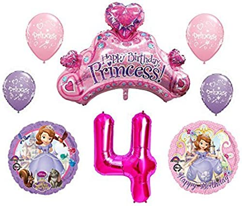 Disney's Sofia the First 4th Happy Birthday Party Balloons Decorations Supplies Bundle