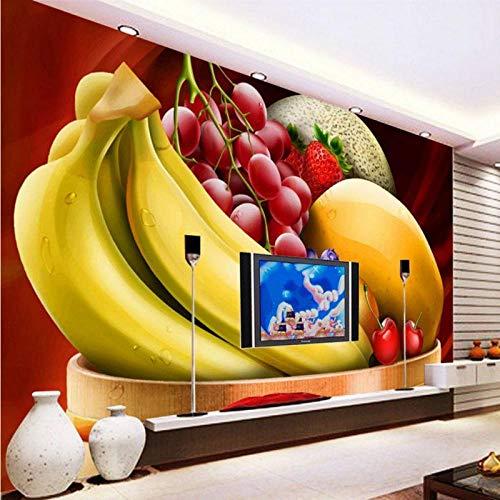 IWJAI 3D Photo TV Wallpaper Wall Painting Decoración Etiqueta de la pared Mango de plátano y uva, frutería Fotomural Vinilo para Pared Infantil Fotomural para Paredes Mural Decorativo Decoración comed