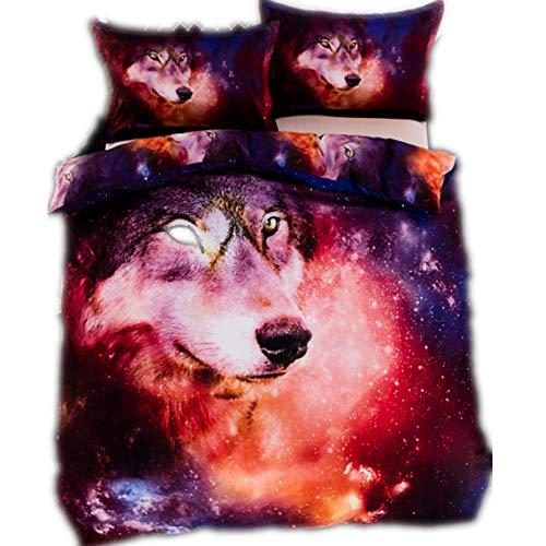 Ste-X Ensemble De Literie 3D Loup Cosmique Et Tigre Blanc Cosmique Polyester Doux Et Confortable - Housse De Couette Motif Microfibre avec Taie (140x200cm(1.2MBed),Wolf)