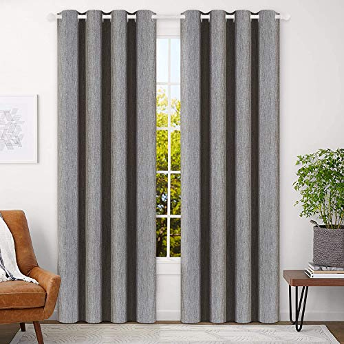 BEST DREAMCITY Room Darkening Curtains Beige 84 inch Bedroom Curtains Living Room Linen Textured...