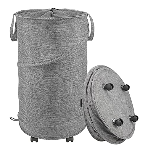 Laundry Hamper with Wheels, Rolling Laundry Baskets 72L Large Collapsible Storage Container Fabric Dirt Clothes Bag Pop up Washing Bin Bedroom Bathroom College Dorm Large Clothes Hamper (Gray)