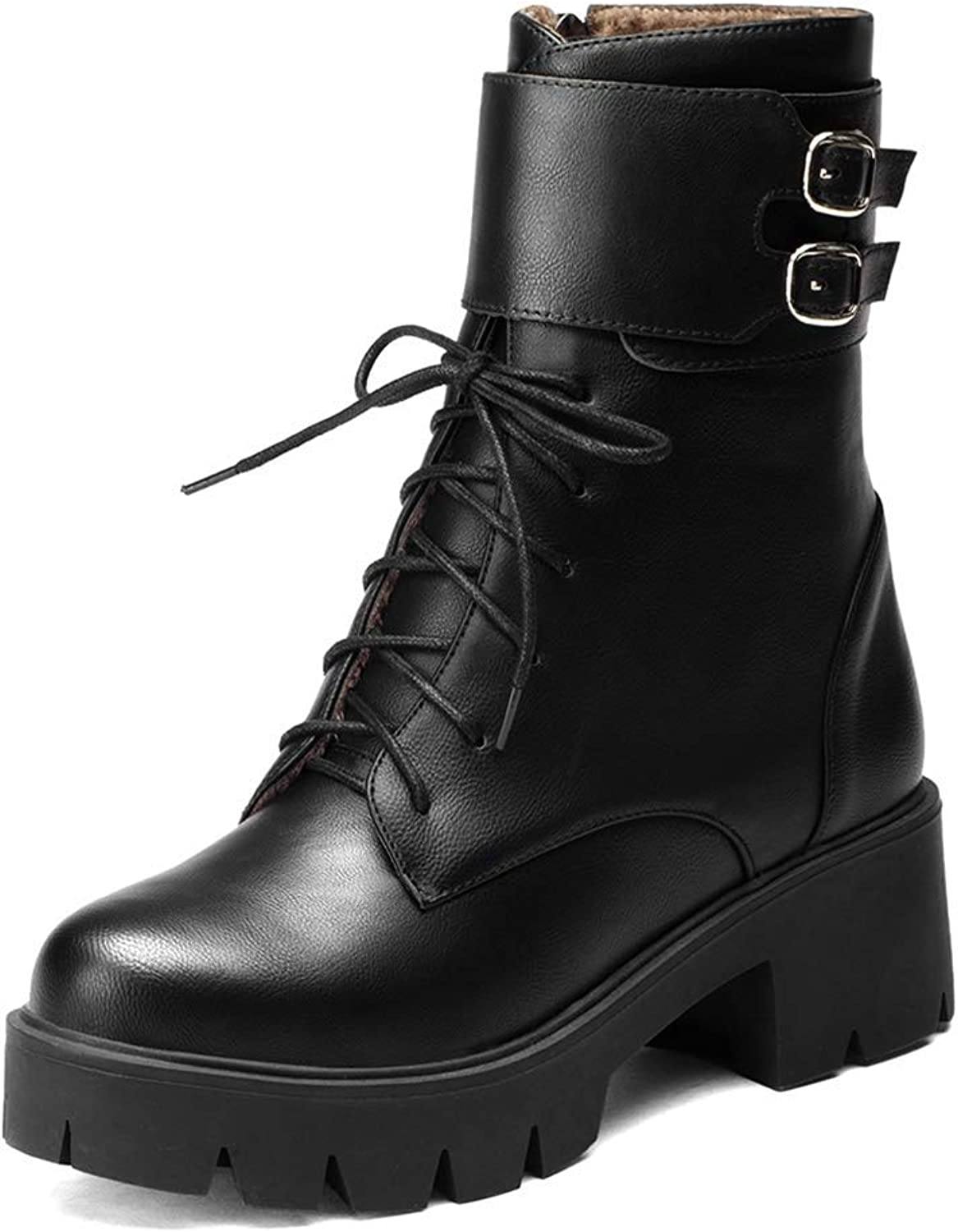 Beautiful - Fashion Women's Comfy Lace Up Platform Martin Boots Round Toe Slip on Chunky Low Heel Leisure Ankle Booties