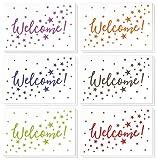 36unidades tarjetas de Nota de bienvenida–Bulk caja Set–en blanco en el interior–6colores diseños, diseño de estrellas–incluye 36tarjetas de felicitación y sobres–4x 6pulgadas