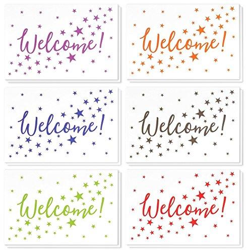 """Grußkarten """"Welcome"""" von Best Paper Greetings (36 Stück) - Englische Aufschrift - Außen Sterne, Innen blanko - Umschläge mit mit spitzer Klappe inklusive- 10cm x 15cm"""