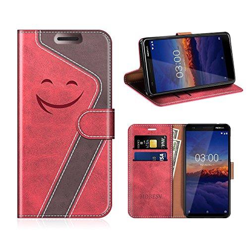 MOBESV Smiley Nokia 3.1 Hülle Leder, Nokia 3.1 Tasche Lederhülle/Wallet Case/Ledertasche Handyhülle/Schutzhülle für Nokia 3.1, Rot/Dunkel Violett