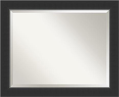 Amazon Com Amanti Art Framed Vanity Mirror Bathroom Mirrors For Wall Corvino Black Mirror Frame Solid Wood Mirror Medium Mirror 27 0 X 33 0 In Home Kitchen