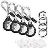 4 Stück W2C Schutzhülle / Schlüsselanhänger 4er Set für Apple AirTag 4er Pack: Hülle / Anhänger + Band / Schlaufe + Karabiner + Schutzfolie (Schwarz)