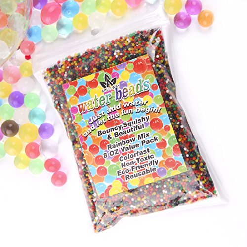 AINOLWAY Water Beads Rainbow Mix (Half Pound) Jelly Crystal Balls for Kids Tactile Toy and Planting Flowers DÃcor Non-Toxic