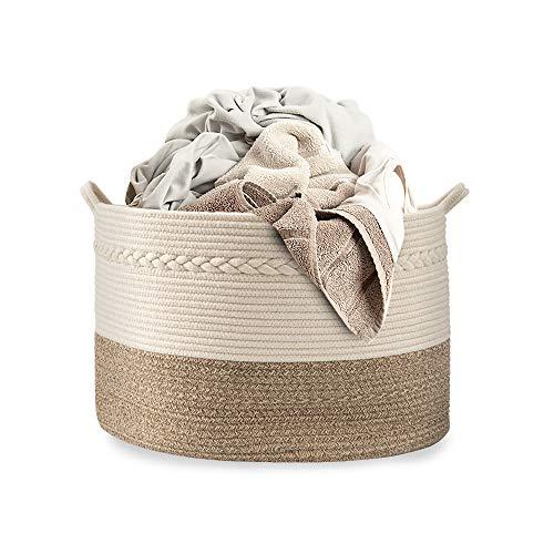 Cotton Coming Große Baumwolle Seil Korb, Wäschekorb Baumwollseilkorb Geflochtene Körbeil, zur Organisation von Wäsche, Decken Baby-Spielzeugen, Kinderzimmer 55x35cm, Gelb
