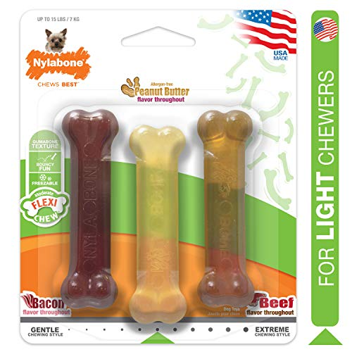 Nylabone Moderate Chew FlexiChew Dog Toys, Chew Toy Pack for Small Dogs