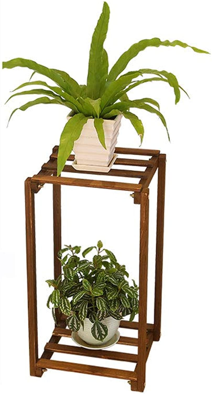 WYNZYHJ Plant Stand, Multi-Layer Solid Wood Flower Stand Floor Indoor Balcony Living Room Multi-Function Flower Stand Rack (Size   S)