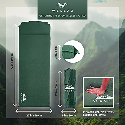 WELLAX UltraThick FlexFoam Sleeping Pad - Self-Inflating 3 Inches Camping Mat for Traveling, Hiking and Camping - 3inch Thickness for Better Stability & Support