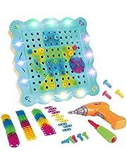 LITTLE COW 子供用 電動ドリル ネジ おもしろ 積み木 ツールボックス カラフル 組み立て セット 知育玩具 誕生日 プレゼント (200PCS)