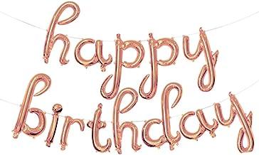 Tellpet Happy Birthday Balloons Banner for Girls, Rose Gold