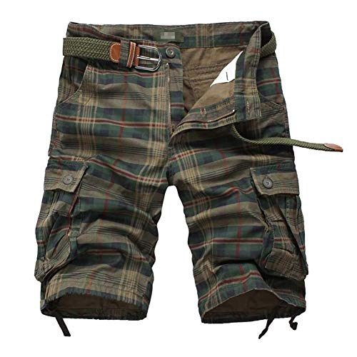 JYG Mens Casual Plaid Cargo Shorts (Army Green, Medium)
