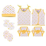 Material: Cotton, Color : Yellow, Pattern : Cherry Printed Age Group : 0 to 6 Months Pack Contains :1 Cap, 1 set of Mitten and Botties, 1 Button Jhabla, 1 top knot Jhabla and 2 Nappy Purpose : Reusable Nappy, Adjustable knot Wash care : Normal Wash, ...