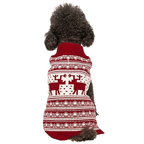 Blueberry Pet 6 Patterns Vintage Festive Red Ugly Christmas Reindeer Holiday Festive Dog Sweater, Back Length 12″, Pack of 1 Clothes for Dogs