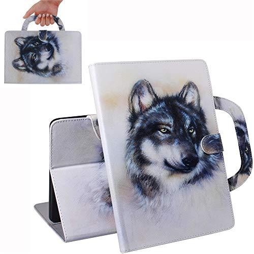Bestcatgift [Fashion Handbag PU Leather Mediapad T5 Flip Wallet Custodia [Painting Series] Tablet Folio Wallet Cover per Huawei Mediapad T5 10-inch - Husky