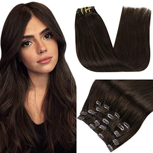 RUNATURE Clip in Extensions Echthaar Farbe 2 Dunkelstes Braun Hair Extension 16 Zoll 100g 9 Stück Haar Extensions Klips
