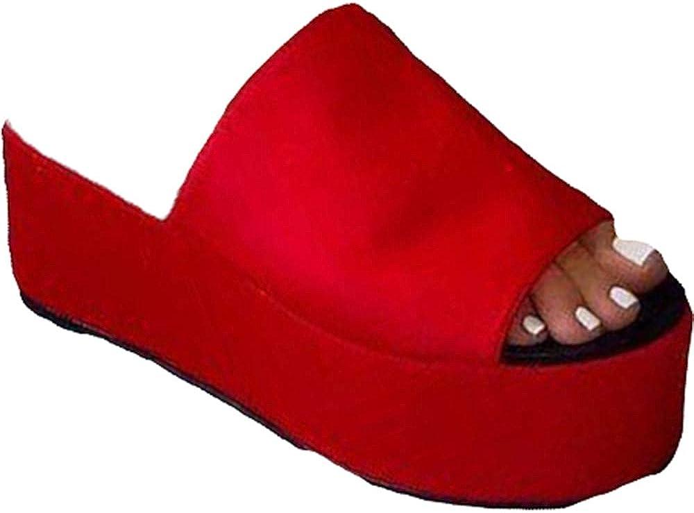 YSMIIH Women's Slide Sandal Wedges Thick Platforms Flips Flops Slip-on Fish Mouth Soft Slippers