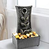 GEEZY Indoor Tabletop Fountain Water Feature LED Lights Polyresin Statues Home Decoration (Tiers Fountain)