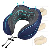 Yangiug Travel Pillow Memory Foam Neck Pillow, Head Support Soft Pillow for Sleeping Rest, Comfortable & Breathable Cover, Machine Washable, Airplane Travel Kit, with Storage Bag (Dark Blue)