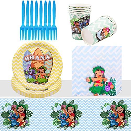 Vajilla de Cumpleaños de Lilo And Stitch -Tomicy Kit de Artículos para Fiesta Cumpleaños Infantil Vajilla de Fiesta TemÁTica de Disney Plato Taza Servilleta Tenedor Banderín- 8 Invitados