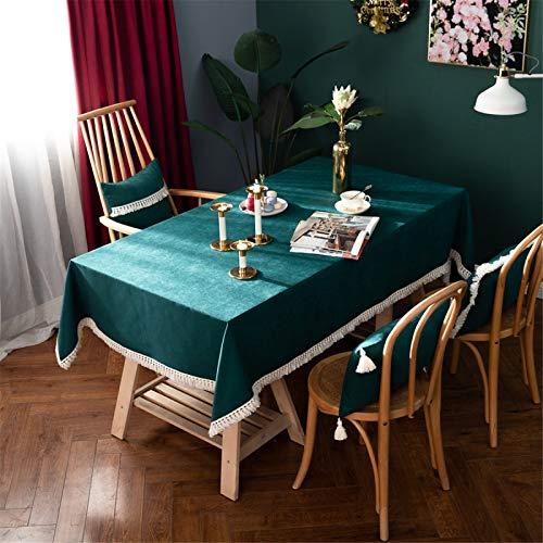 Mantel De Algodón Y Lino De Color Sólido Verde para El Hogar, Hotel, Sala De Estar, Cocina, Rectangular con Flecos, Cuadrado, Mantel Redondo 140x180cm