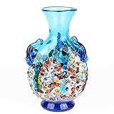 Anfora Millefiori - Jarrón de cristal de Murano, color azul claro