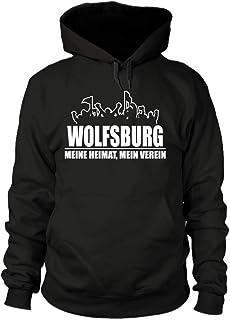 shirtloge Wolfsburg - Fanblock - Meine Heimat, Mein Verein - Fussball Fan Kapuzenpullover - Größe S - 3XL