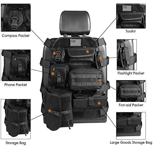 SUNPIE Universal Seat Cover Case with Organizer Storage Muti Pocket fit Jeep Wrangler Unlimited CJ YJ Cherokee Rubicon F150 Ridgeline Seat Protector Multiple Pockets