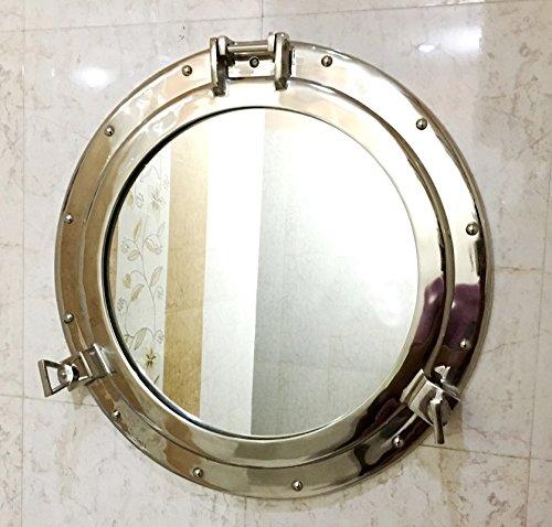Espejo para Colgar en la Pared con Acabado de níquel para Ventana de Portero de Barco Antiguo de...