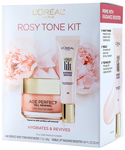 L'Oreal Paris Skin Care Giftable Kit with Rosy Tone Face Moisturizer & Visible Lift Radiance Booster, 1 Kit