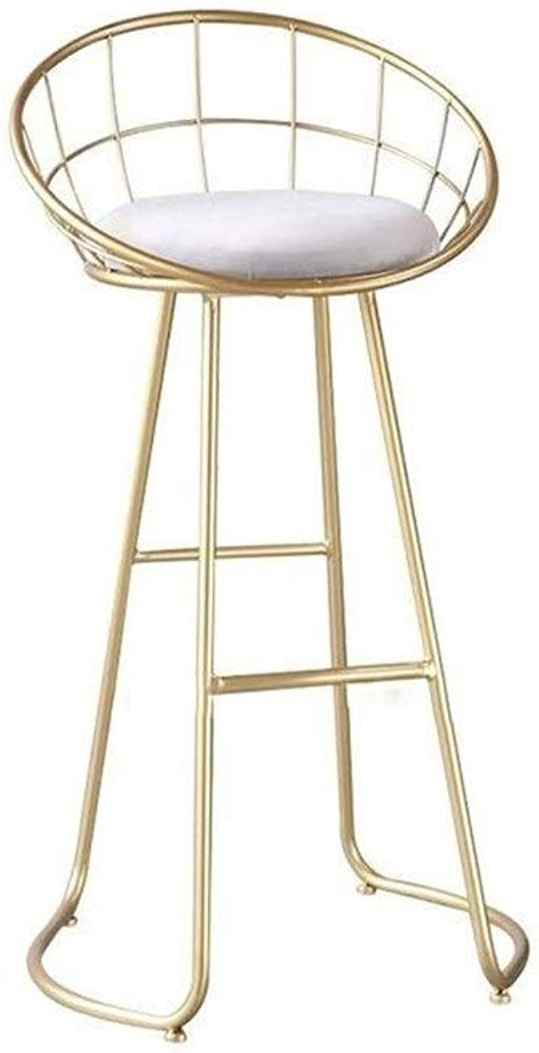 Iron Bar Chair Modern Minimalist High Stool Creative Home Chair Round Cushion Seat Bar Height Metal Stool FENPING (color   gold)