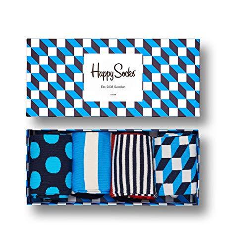 Happy Socks – Gemischt farbenfrohe Geschenkbox an Baumwollsocken für Männer und Frauen, Filled Optic Gift Box, 41-46