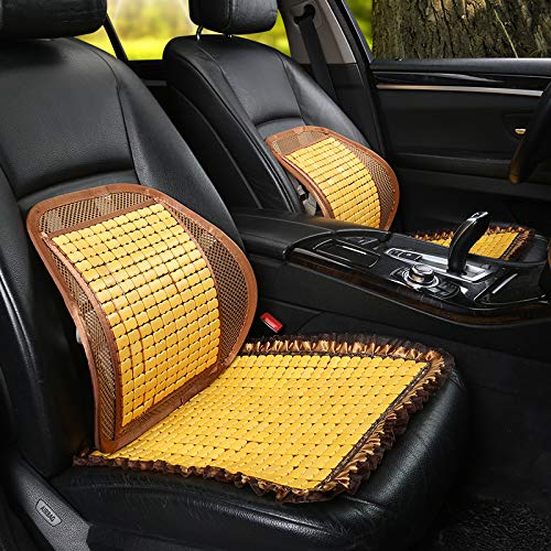 GZCC Autositz Sommer Atmungsaktive Bambus Tablet Autokühlmatte rutschfeste Mahjong Bambus Matte Matte Einzelnes Universelles Rückenkissen hinten