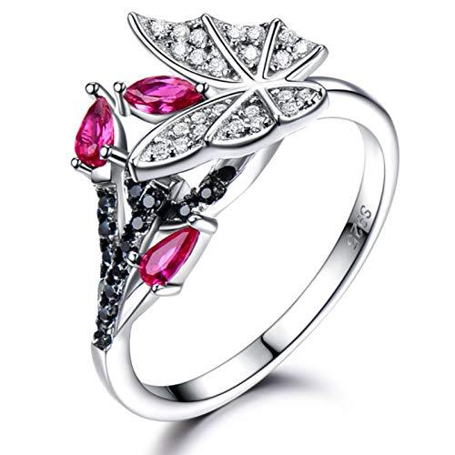 XIRENZHANG Anillo de plata de ley 925 para mujer, Nano Ruby Inlaid Black Spar singular mariposa anillo joyas (5#, 6#, 7#, 8#, 9#) White-5#