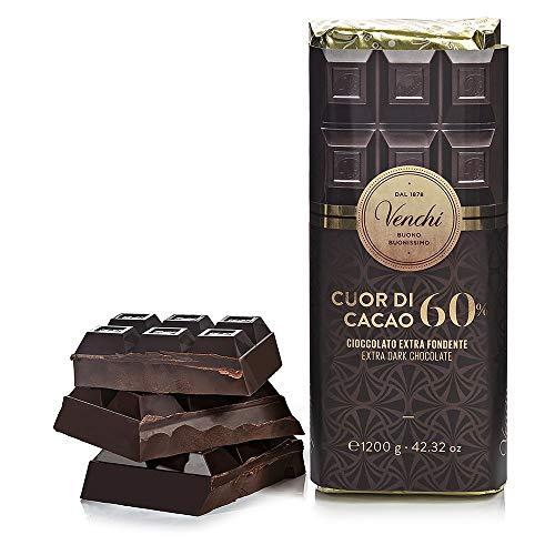 Venchi Blocco Cuor di Cacao 60%, 1.2Kg - Cioccolato Extra Fondente, senza Glutine, 1200 Grammi