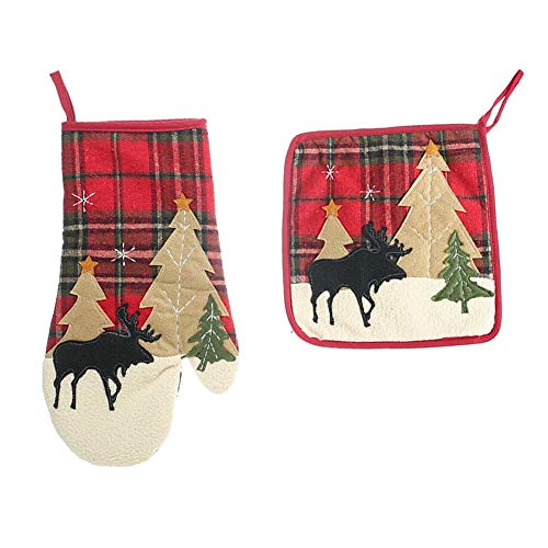Weihnachten Ofenhandschuhe und Topflappen 2-teiliges Set Hitzebeständige Anti-Rutsch Topfhandschuhe Baumwolle, Topflappen Hot Pad quadratisch Geeignet für Kochen Backen Grillen
