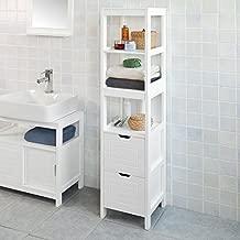Haotian White Floor Standing Tall Bathroom Storage Cabinet with Shelves and Door,Linen Tower Bath Cabinet, Cabinet with Shelf (FRG126-W)