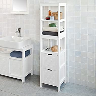 Haotian FRG126-W, White Floor Standing Tall Bathroom Storage Cabinet with 3 Shelves and 2 Drawers,Linen Tower Bath Cabinet, Cabinet with Shelf,30x30x144cm
