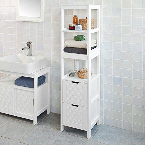 Haotian White Floor Standing Tall Bathroom Storage Cabinet with Shelves and Door,Linen Tower Bath...