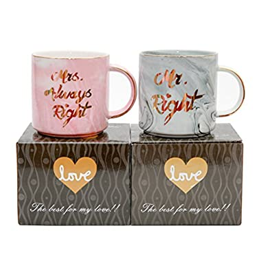 Luspan Mr Right Mrs Always Right Couples Mug - Gift for Bridal Shower Engagement Wedding and Married Couples - Anniversary Present for Husband and Wife - Ceramic Marble Cups 13 oz(Grey and Pink)
