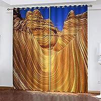 カスタム任意のサイズの砂漠の彫像フォトウィンドウカーテンリビングルームのデジタルプリント寝室の停電ドレープ家の装飾 with Grommet-42*84IN