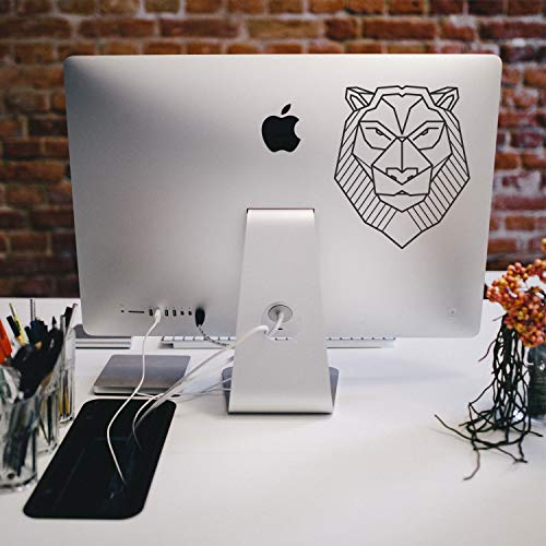 TAMENGI Geometric lion decal Lion sticker Your text decal Mac decal Macbook decal Laptop decals Laptop sticker Hashtag decal Ipad decal Imac decals - 7 inches