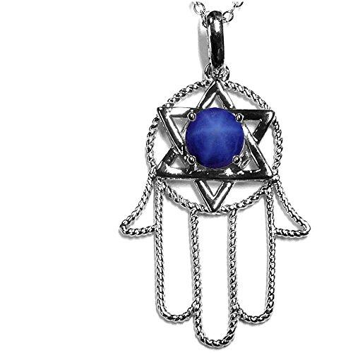 Star K Large Hamsa Hand Jewish Star of David Pendant Necklace with Simulated Star Sapphire 10k White Gold