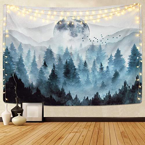 Tapiz de pared para colgar en la pared, diseño de bosque neblinoso, árbol mágico con tapices de luna, decoración de pared para recámara, sala de estar