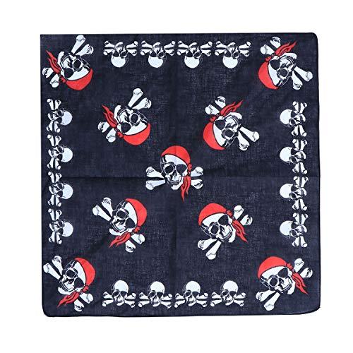 STOBOK 12 pzs de pauelos de pirata negro pauelo accesorio para el pelo para nios adultos cosplay fiesta